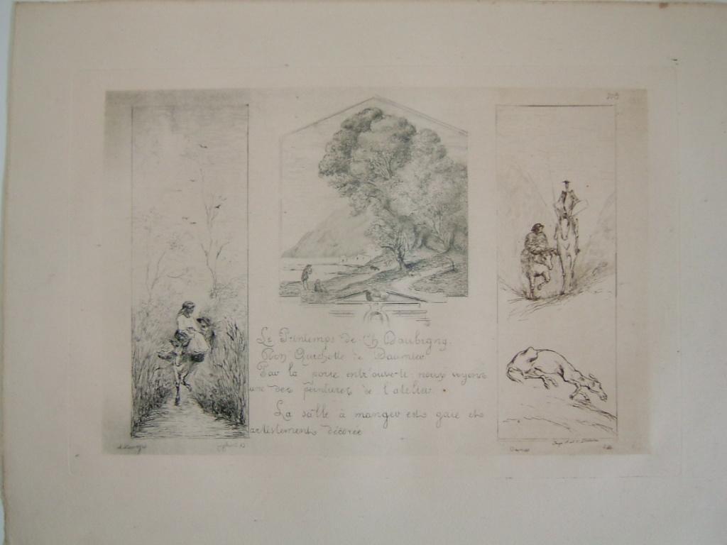 Daubigny, souvenirs et croquis (12) : Trois gravures : Le Printemps de Daubigny; Peinture de l'atelier de Daubigny par Corot, don Quichotte de Daumier_0