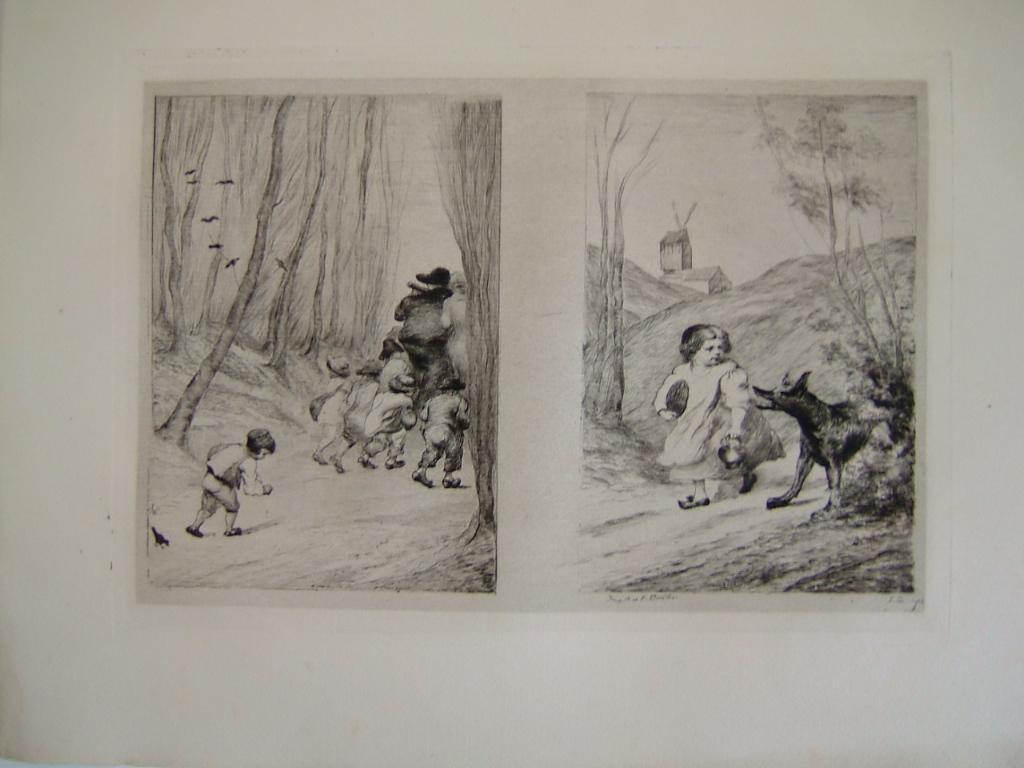 BOURGES Léonide : Daubigny, souvenirs et croquis (17) : Illustrations de deux contes de Perrault, à droite Le petit chaperon rouge, à gauche Le petit Poucet