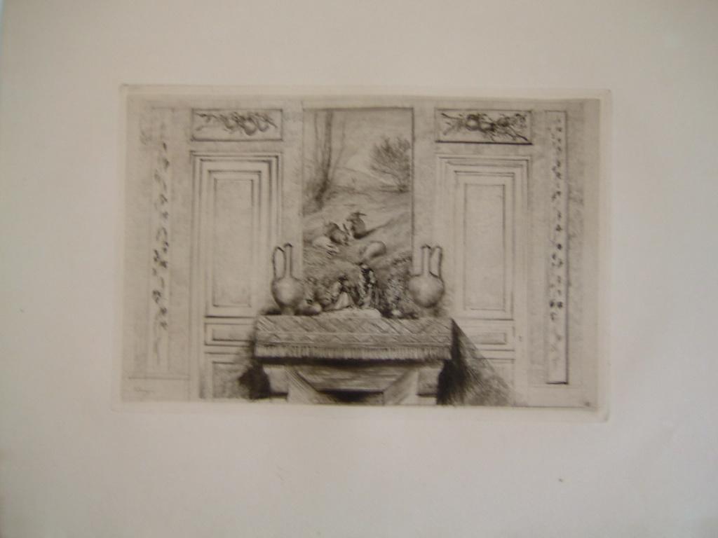 Daubigny, souvenirs et croquis (18) : Dessus de cheminée avec trumeau peint (maison de Daubigny) (les lapins, groupe en terre cuit : Les moines jardiniers par Chenillion)_0