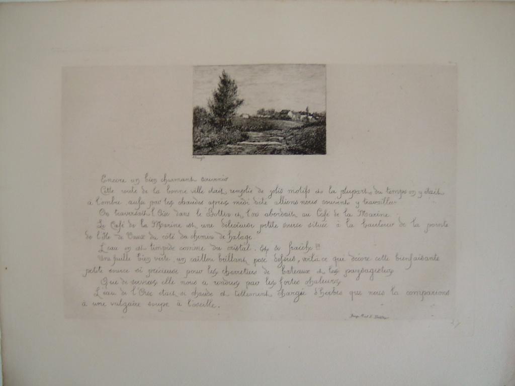 BOURGES Léonide : Daubigny, souvenirs et croquis (23) : Route de la Bonneville, 'café de la marine' (source à l'île de Vaux)
