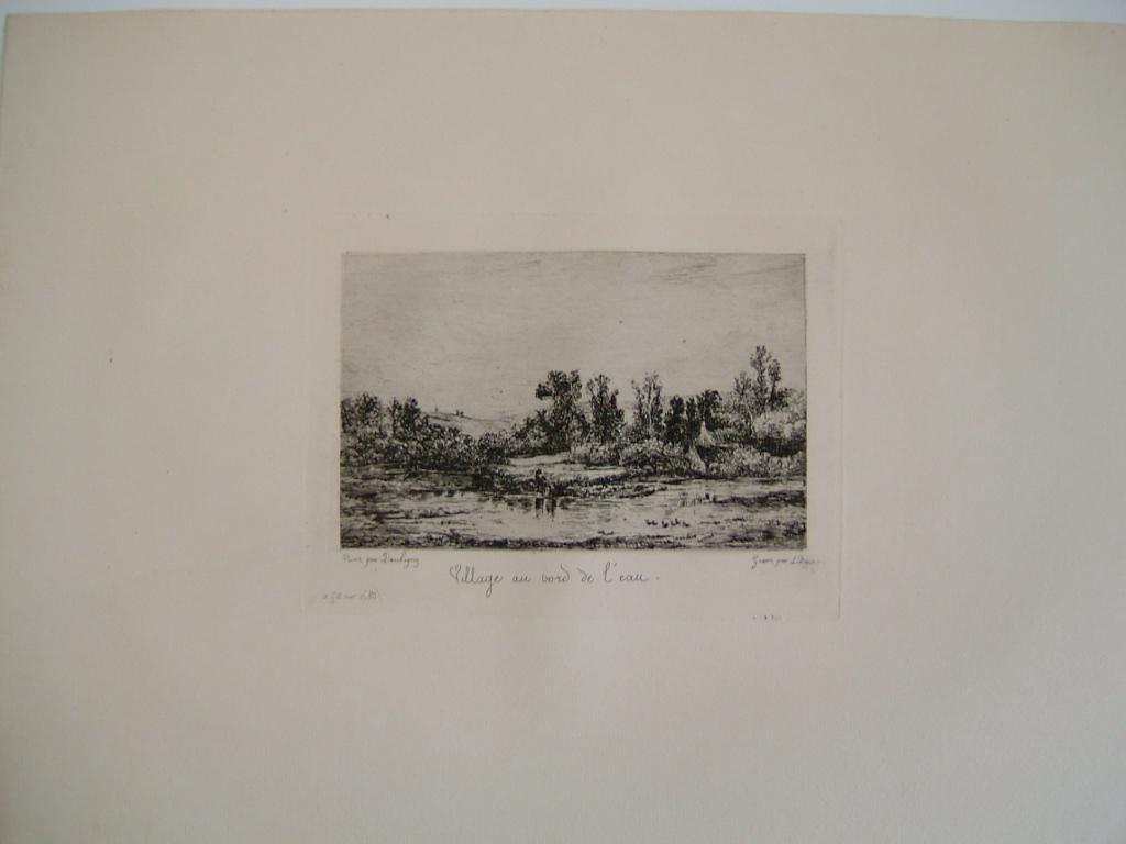 BOURGES Léonide, DAUBIGNY Charles François (d'après) : Daubigny, souvenirs et croquis (26) : Village au bord de l'eau