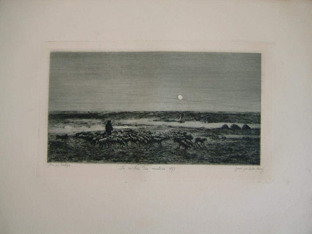 BOURGES Léonide, DAUBIGNY Charles François (d'après) : Daubigny, souvenirs et croquis (27) : La rentrée des moutons, 1877