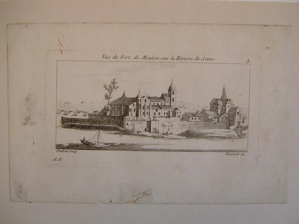 POULLEAU, DOMONT : Vue du Fort de Meulan sur la rivière de Seine