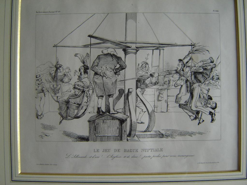 GRANDVILLE (dit), GERARD Jean Ignace Isidore, FOREST Eugène Hippolyte : La Caricature (n° 137) : Le jeu de bague nuptiale (caricature)