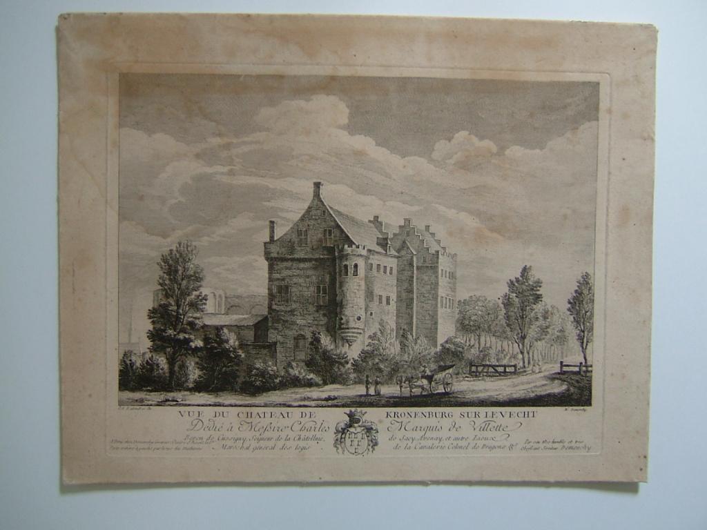 DEMONCHY M A, RADEMAKER Abraham(d'après) : Vue du château de Kronenburg sur le Vecht