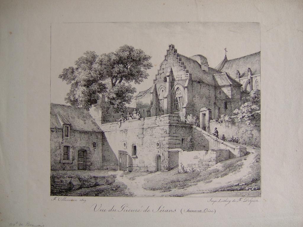 VILLENEUVE F, DELPECH François Séraphin : Vue du prieuré de Serans (Seine et Oise)