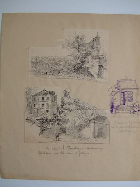 anonyme : Deux estampes : L'Hermitage à Montmorency, Le donjon de J.J. Rousseau dans le jardin de Montlouis à Montmorency