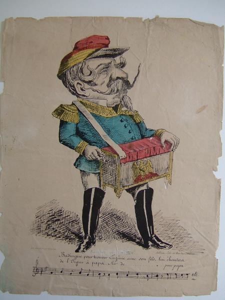 Caricature de Louis XVIII ; suivi d'une chanson avec portée musicale_0