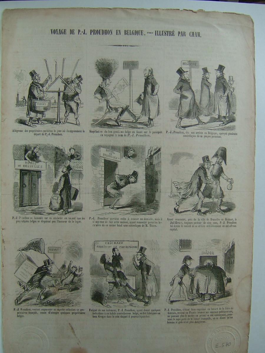 CHAM (dit), NOE Charles Amédée de (caricaturiste) : Le Charivari : Voyage de P.J. Proudhon en Belgique, illustré par Cham