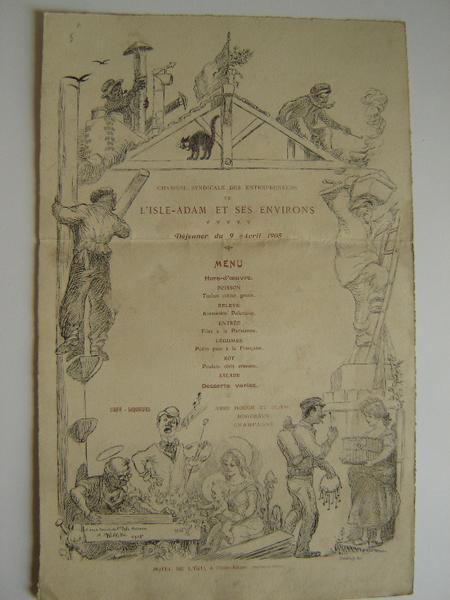 Menu du déjeuner des entrepreneurs de l'Isle-Adam; avril 1905