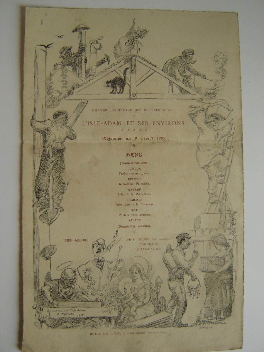 WILLETTE Adolphe Léon, DUCOURTIOUX (graveur) : Menu du déjeuner des entrepreneurs de l'Isle-Adam; avril 1905