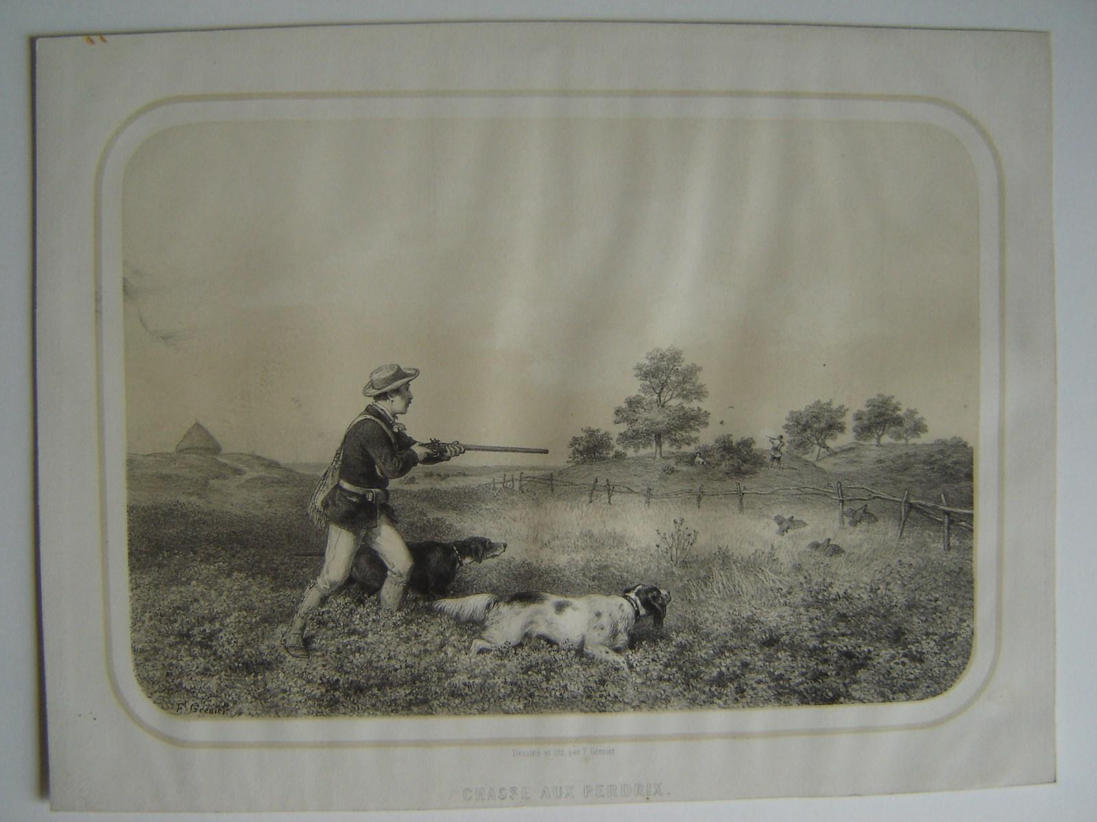 GRENIER DE SAINT-MARTIN François (lithographe) : Chasse aux perdrix