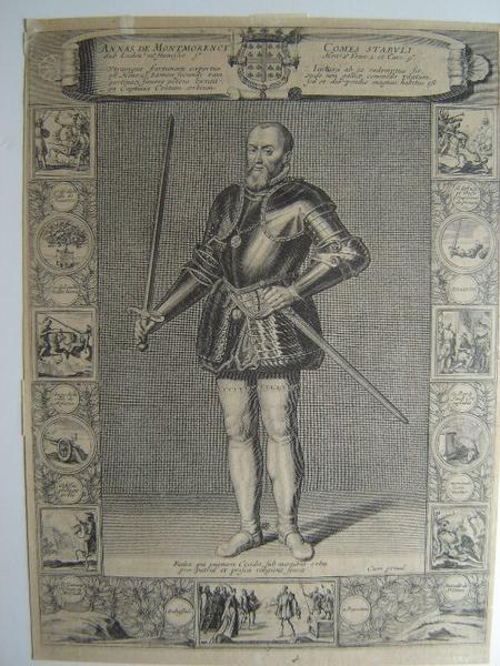 HEINCE Zacharie (dessinateur), BIGNON François (graveur), CHAMPAIGNE Philippe de (d'après, peintre), SARA Henri (éditeur) : Portrait d'Anne de Montmorency 1493-1567, Annas De Montmorency comes stabuli' (titre inscrit)