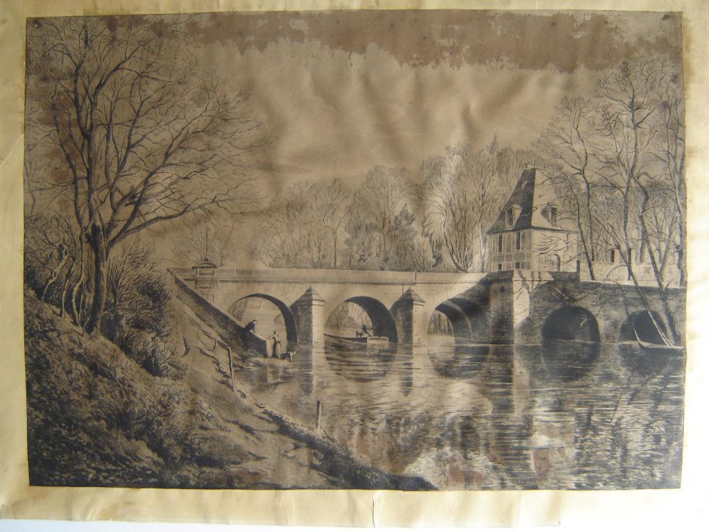 BASTARD Léon de (peintre, graveur, lithographe) : Le pont du Moulin, Isle-Adam