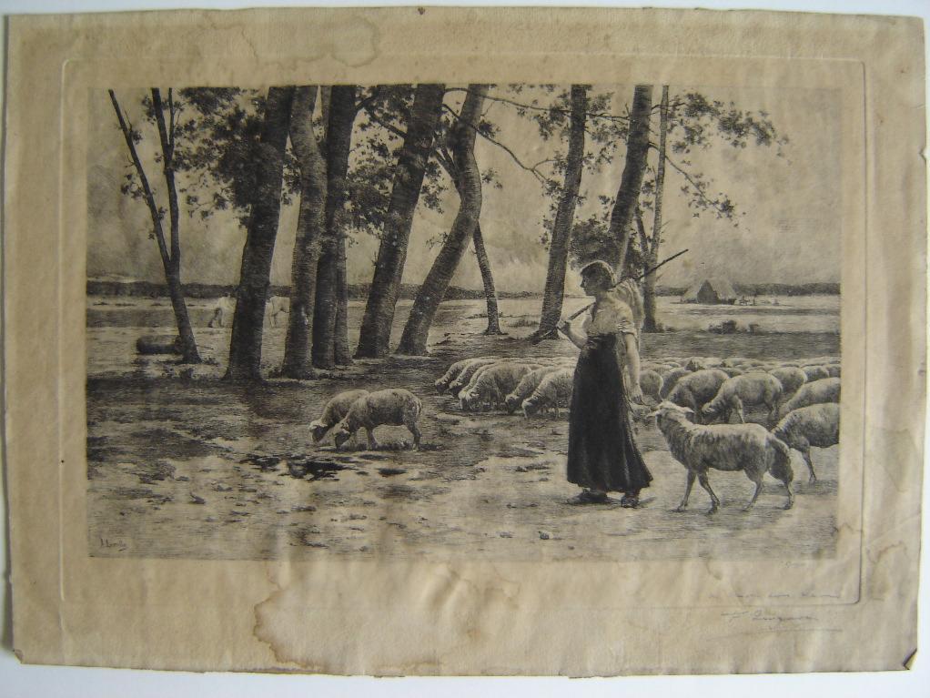 QUIGNON Fernand Just, LEROLLE Henry (d'après) : Bergère et ses moutons (factice)