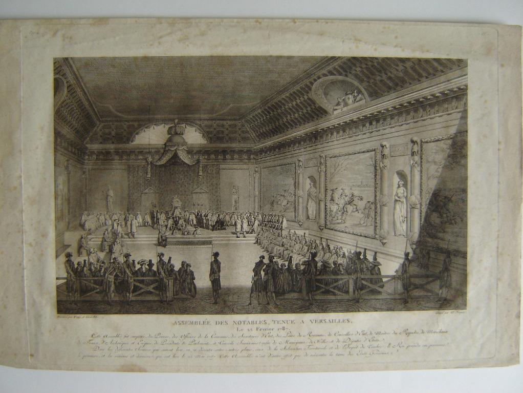 NIQUET Claude l'Aîné (graveur), VENY (d'après, dessinateur), GIRARDET Abraham (d'après, dessinateur) : Assemblée des notables, tenue à Versailles le 22 février 1787