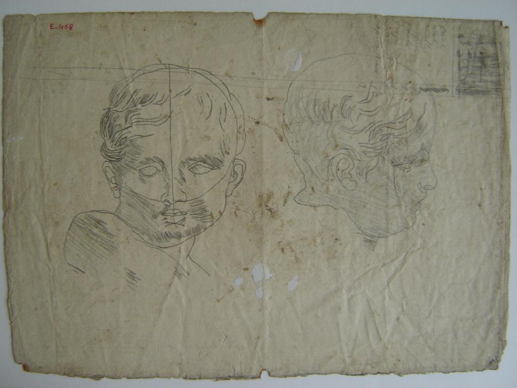 PETIT Victor (graveur), LE BARBIER Jean Jacques François (d'après), LE BARBIER l'Aîné (dit) : Etude de tête d'enfant, face et profil (recto verso)