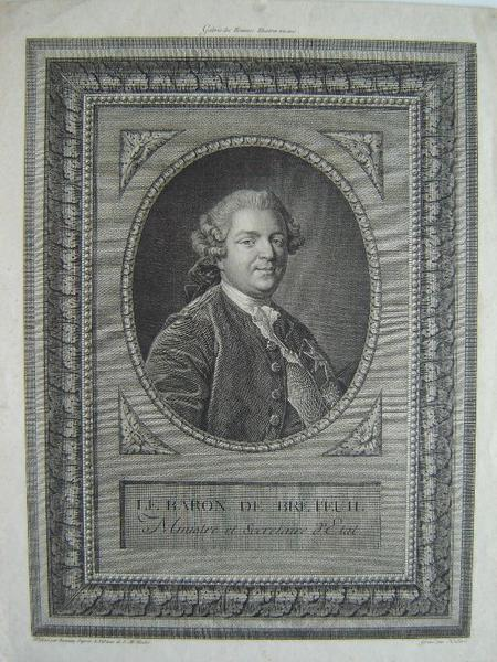 HUBERT, BONNIEU (d'après), VAN LOO Louis Michel (d'après) : Portrait du Baron de Breteuil, ministre et secrétaire d'Etat