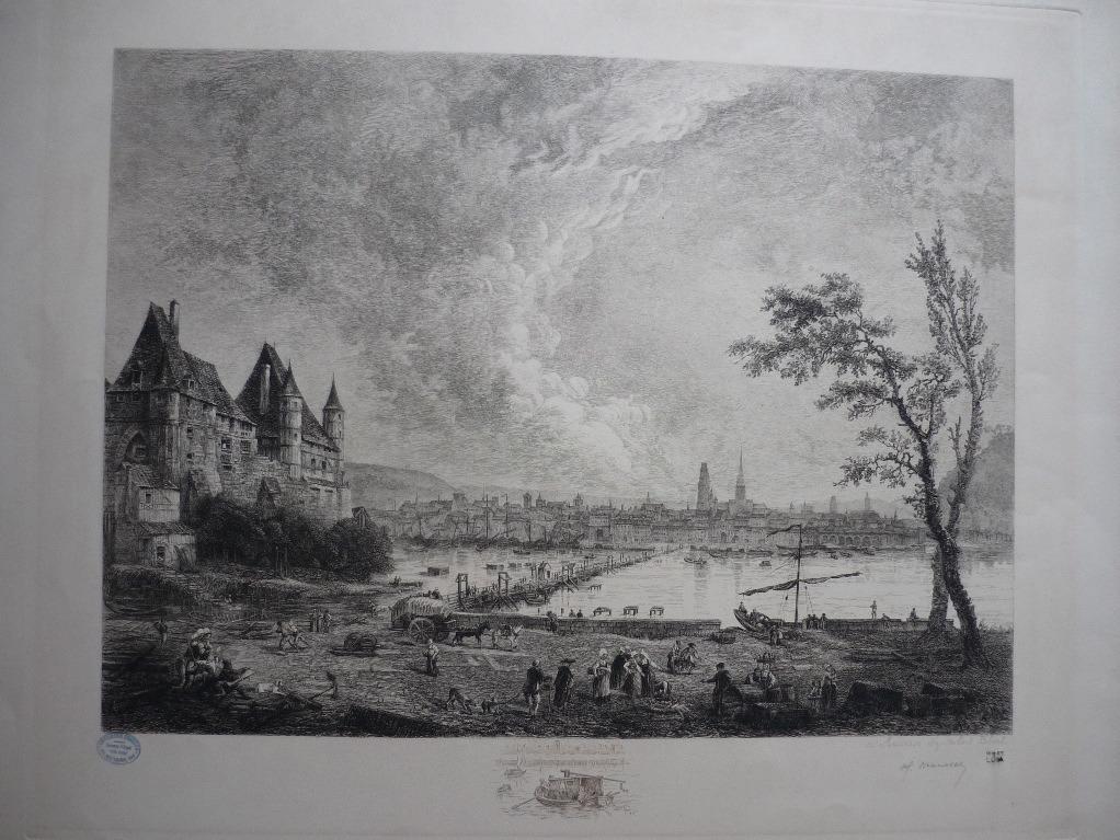 MANESSE Henri (graveur), ROBERT Hubert (peintre, d'après) : Paysage avec château et rivière (factice)