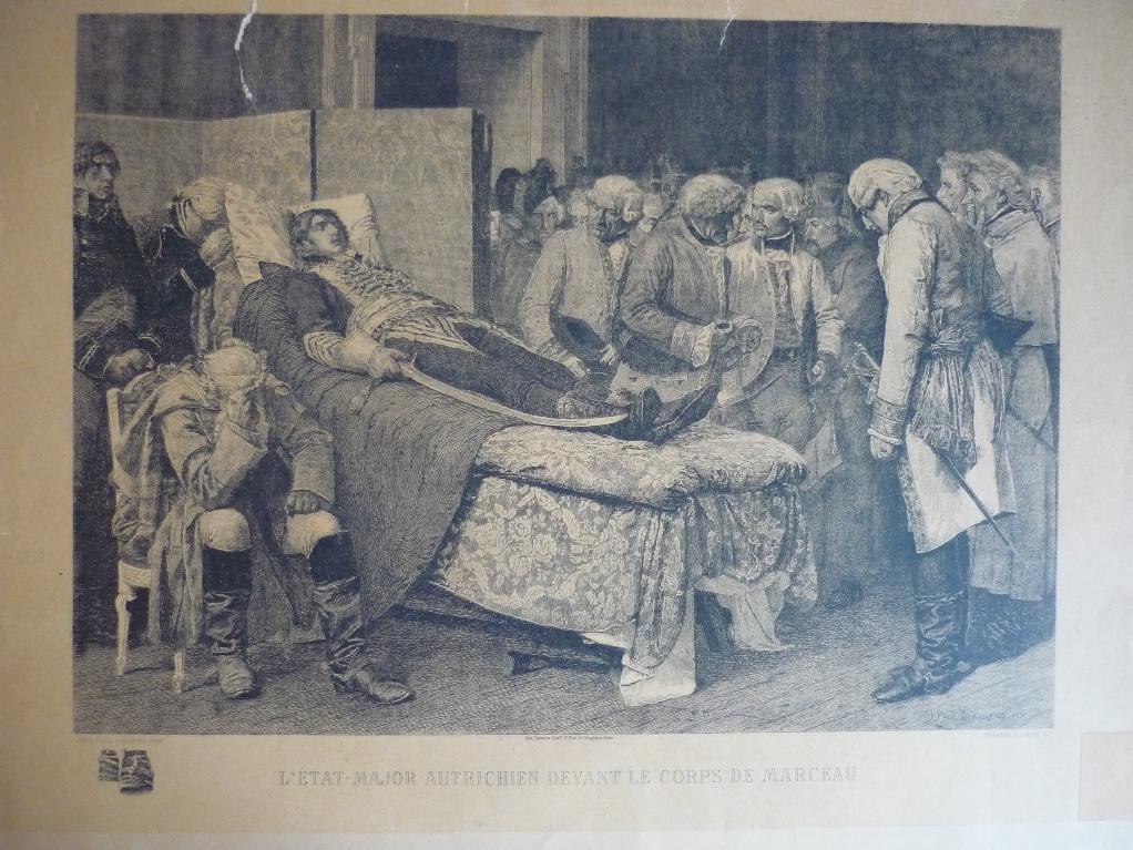 COURTRY Charles (graveur), LAURENS Jean Paul (d'après) : L'état major autrichien devant le corps de Marceau