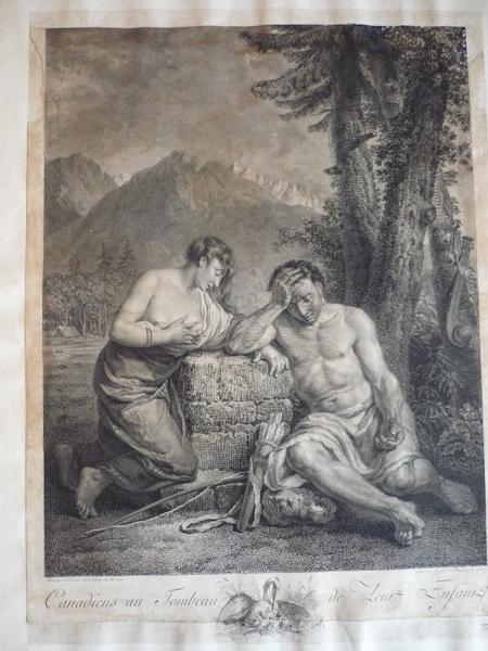 INGOUF François Robert I (dit, graveur), LE BARBIER Jean Jacques François (d'après), LE BARBIER l'Aîné (dit) : Canadiens au tombeau de leur enfant