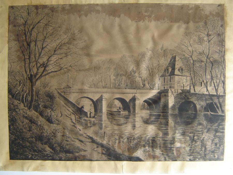 BASTARD Léon de (peintre, graveur, lithographe) : L'Isle-Adam, le Pont du Moulin