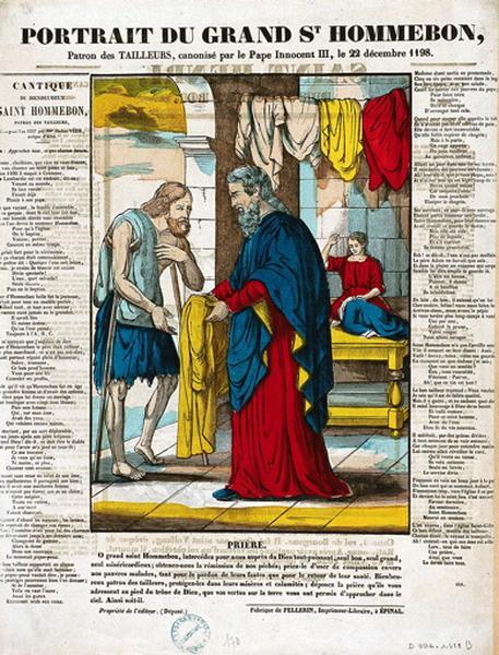 PORTAIT DU GRAND St HOMMEBON, / Patron des TAILLEURS, canonisé par le Pape Innocent III, le 22 décembre 1198. (titre inscrit)_0