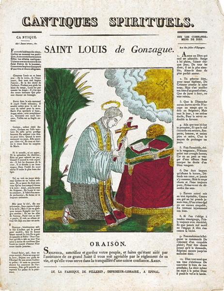 CANTIQUES SPIRITUELS. / SAINT LOUIS de Gonzague. (titre inscrit)