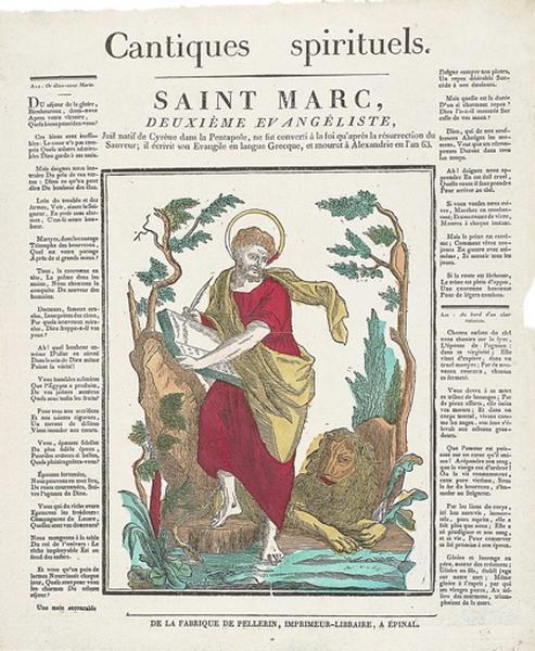 Cantiques spirituels. / SAINT MARC, DEUXIEME EVANGELISTE, (titre inscrit)