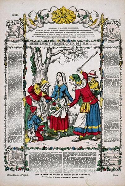 BIENHEUREUSE Ste GERMAINE COUSIN, DE PIBRAC (Haute-Garonne). Canonisée à Saint-Pierre de Rome, en juin 1867. N°.145. (titre inscrit fr., it.)_0