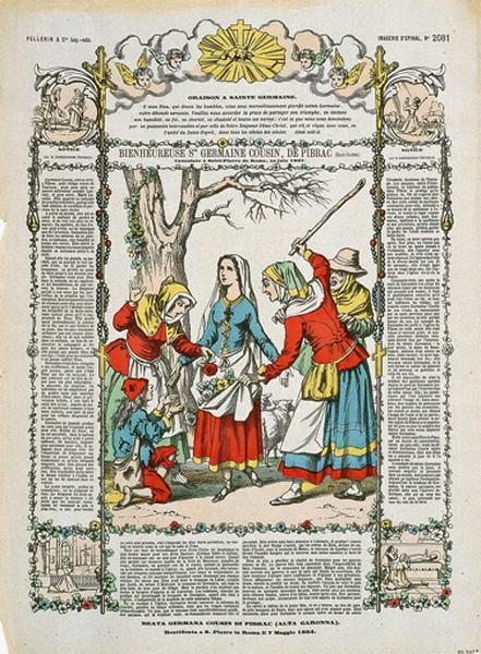 BIENHEUREUSE Ste GERMAINE COUSIN, DE PIBRAC (Haute-Garonne)..Canonisée à Saint-Pierre de Rome, en juin 1867. N°.145. (titre inscrit fr., it.)_0