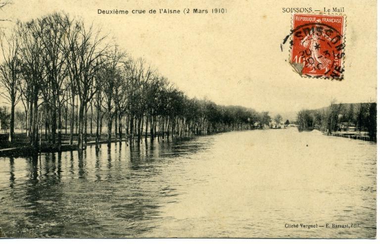 Soissons - Deuxième crue de l'Aisne (2 mars 1910) - Le mail_0