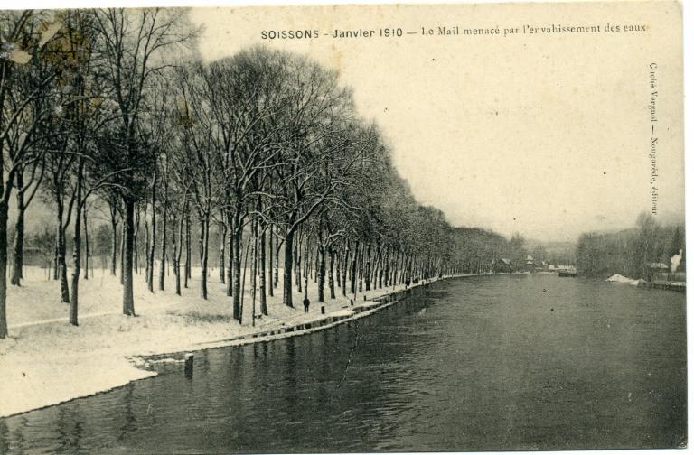 Soissons - Janvier 1910  - Le mail menacé par l'envahissement des eaux_0