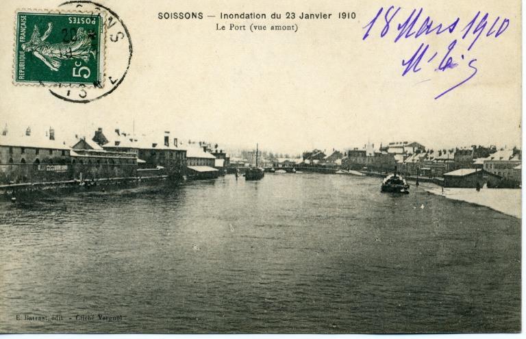 Soissons - Inondation du 23 janvier 1910  - Le port (vue amont)_0