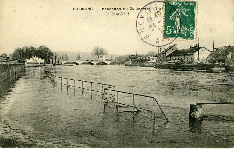 Soissons - Inondation du 24 janvier 1910 - Le pont-Neuf_0