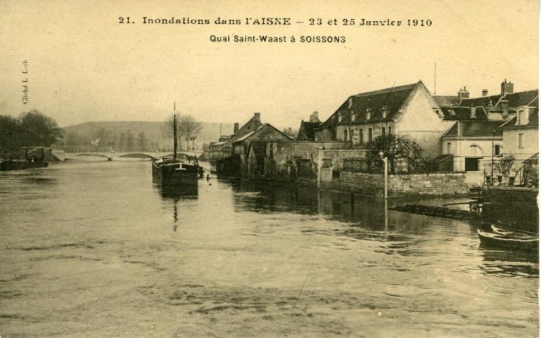 Soissons - Inondations dans l'Aisne - 23 et 25 janvier 1910 - Quai Saint-Waast à Soissons
