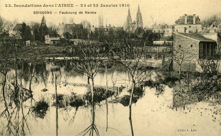 Soissons - Inondations dans l'Aisne - 23 et 25 janvier 1910 - Faubourg de Reims_0