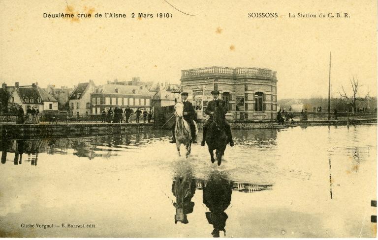 Soissons - Deuxième crue de l'Aisne 1910 - La station du C.B R_0