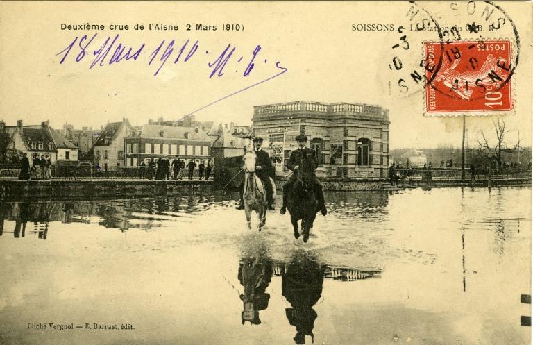 Soissons - Deuxième crue de l'Aisne (2 mars 1910) - La station du G.B R_0