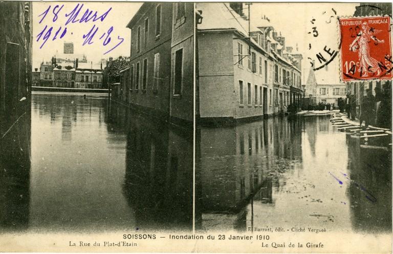 Soissons - Inondation du 23 janvier 1910 - La rue du plat d'Étain - Le quai de la girafe_0