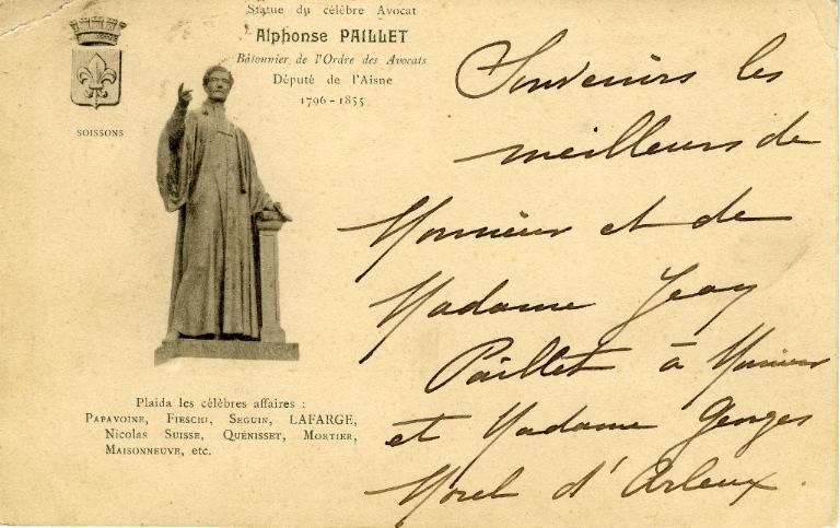 Soissons - Statut du célèbre avocat Alphonse Paillet_0