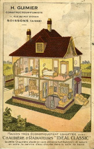H. Guimier, constructeur - fumiste, 11, rue du Pot d'Etain - Soissons (Aisne). Chaudière et radiateurs 'Idéal Classic'_0