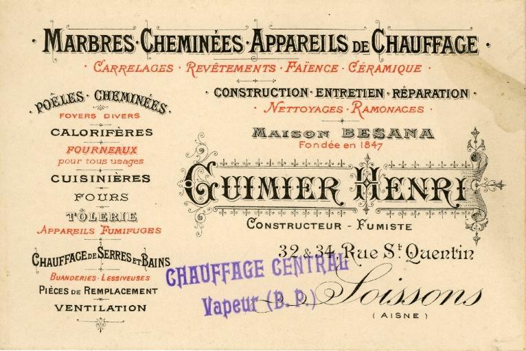 GUIMIER Henri, constructeur fumiste (marbres, cheminées, appareils de chauffage)_0