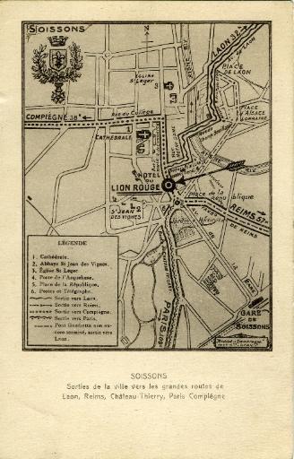 Soissons - Sorties de la ville vers les grandes routes de Laon, Reims, Château-Thierry, Paris Compiègne_0