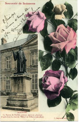 Souvenir de Soissons - La statue de Paillet, avocat, mort en plaidant érigée dans la cour d'honneur de l'Hôtel de ville (1796-1855)_0