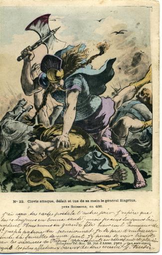 Clovis attaque, défait et tue de sa main le générale Siagrius, prés Soissons, en 486