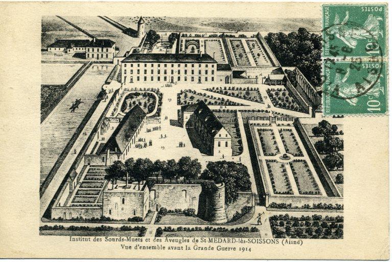 Institut des sourds-muets et des aveugles de Saint-Médard-les-Soissons (Aisne) - Vue d'ensemble avant la grande guerre 1914_0