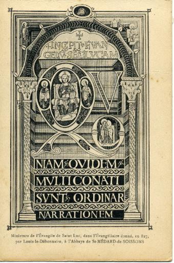 Soissons - Miniature de l'évangile de Saint-Luc, dans l'évangéliaire donné, en 827, par Louis le Débonnaire, à l'Abbaye Saint-Médard-de-Soissons_0