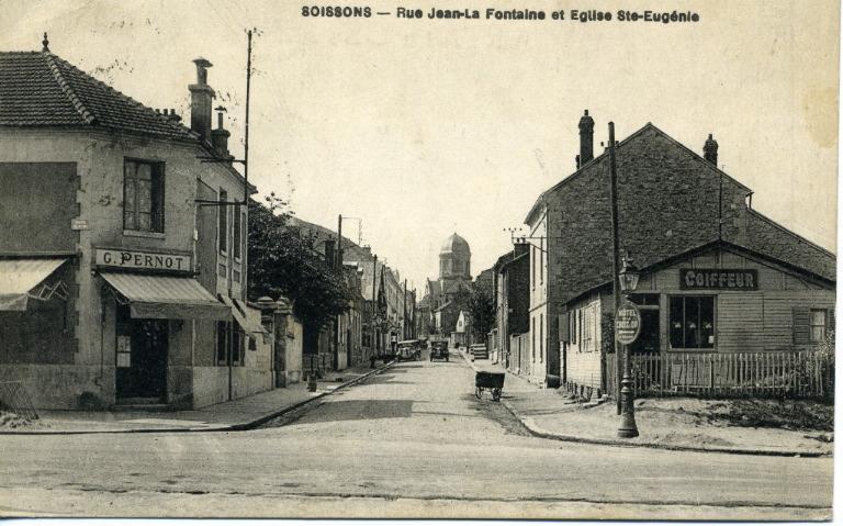 Soissons - Rue Jean de la fontaine et église Saint-Eugénie