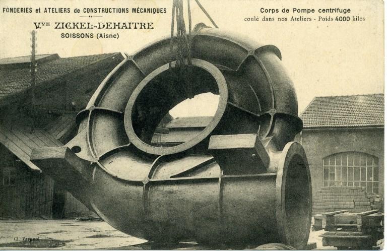 Soissons (carte publicitaire) - Usine Zickel Deahaître - Corps de pompe centrifuge_0